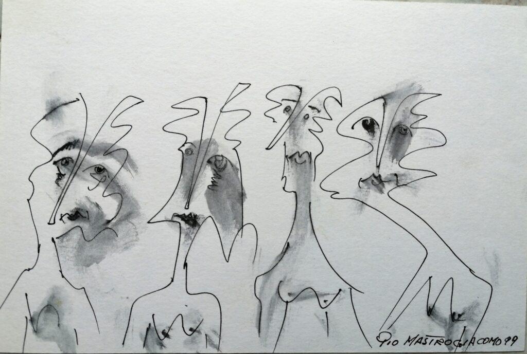I riguardanti 2, 1999 disegno con pennarello, Pio Mastrogiacomo.