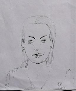 Schizzo di una giovane donna, 2019 disegno a penna su foglio A4,Pasquale Matsrogiacomo.