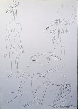 Antropomorfismo, 1999 disegno a matita, Pio Mastrogiacomo.