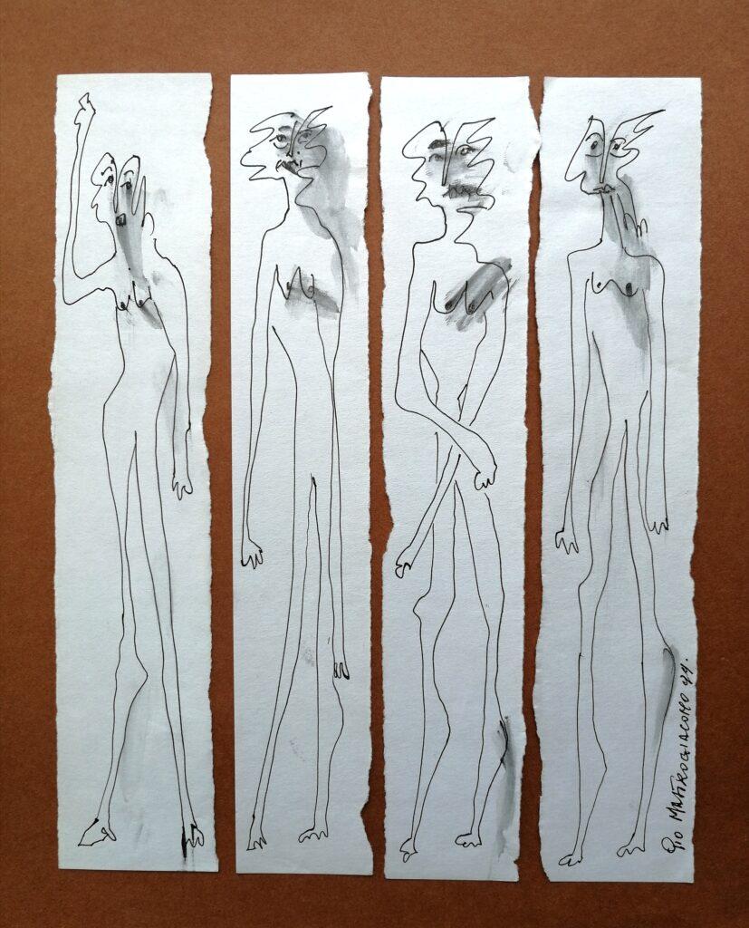 Astanti, 1999 disegno a penna, Pio Mastrogiacomo.