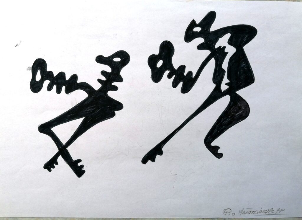 Chiavi antropomorfe, 1998 disegno con pennarello nero, Pio Mastrogiacomo.