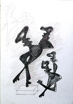 Chiavi antropomorfe 2, 1998 disegno con pennarello nero, Pio Mastrogiacomo
