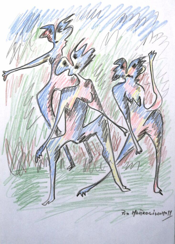 Danzatori, 1999 disegno con matite colorate, Pio Mastrogiacomo