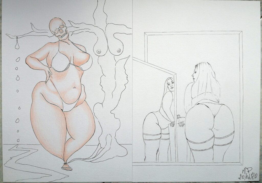 Disegni a penna e matite colorate (in corso), 2020 Pasquale Mastrogiacomo.