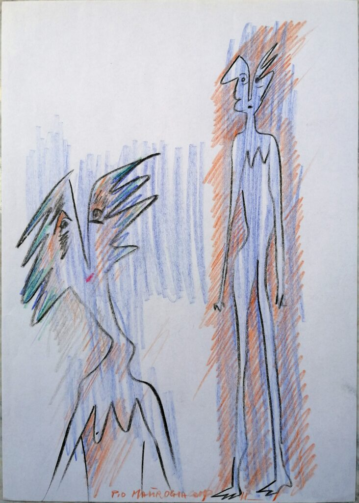 I riguardanti 3, 1998 disegno con matite colorate, Pio Mastrogiacomo.