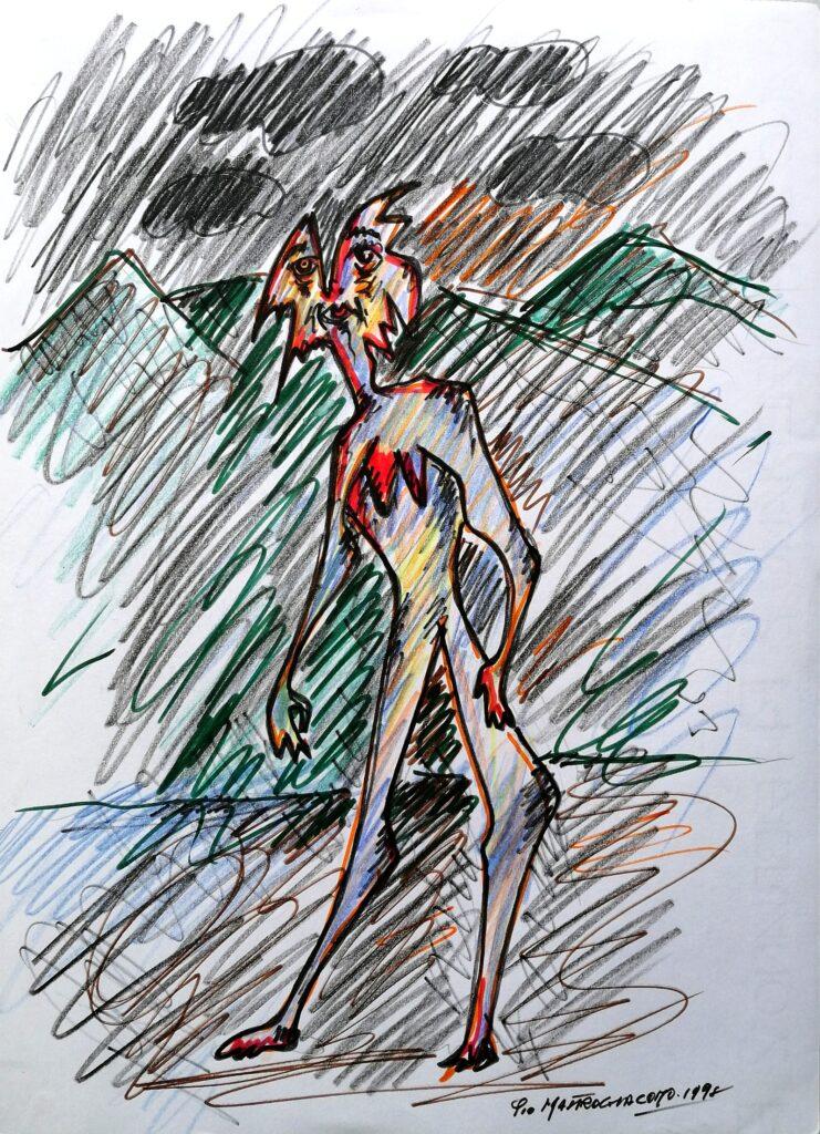 Passante, 1998 disegno con pennarelli, Pio Mastrogiacomo