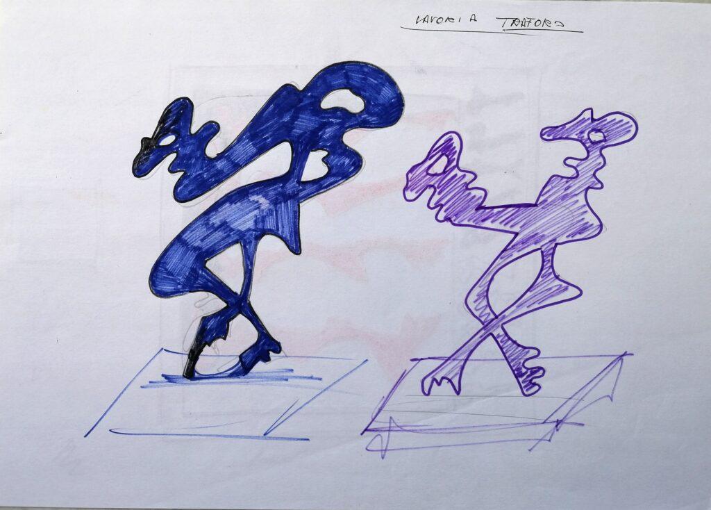 Schizzi di chiavi, 1999 disegno con pennarelli, Pio Mastrogiacomo.