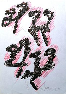 Le chiavi di Pio Mastrogiacomo, 1999 disegno su foglio A4, Pio Mastrogiacomo.