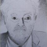 Ritratto di Jacques Attali, 2020 disegno a matita su foglio A4 della stampante, Pasquale Mastrogiacomo.