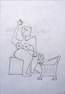 Una donna con il suo gatto, 1996 disegno a matita su foglio A4, Pio Mastrogiacomo.
