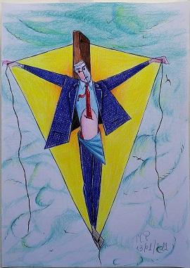 Crocifissione, 2021 disegno a penna e matite colorate cm 21x29 cm, Pasquale Mastrogiacomo.