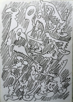 Il cantore infinito delle chiavi, 1997 disegno a matita, Pio Mastrogiacomo.