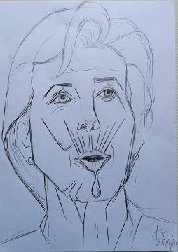 Ritratto a matita di Christine Lagarde, 2020 cm 21x29 cm, Pasquale Mastrogiacomo.
