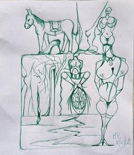 Scarabocchi di simboli, 2021 disegno a penna su foglio A4,Pasquale Mastrogiacomo