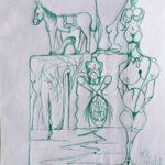 Scarabocchi di simboli, 2021 disegno su foglio A4,Pasquale Mastrogiacomo