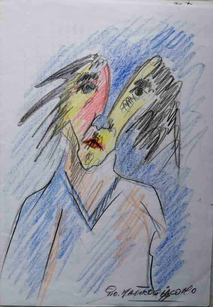 Solitudine, 1999 disegno con matite colorate su foglio A4, Pio Mastrogiacomo