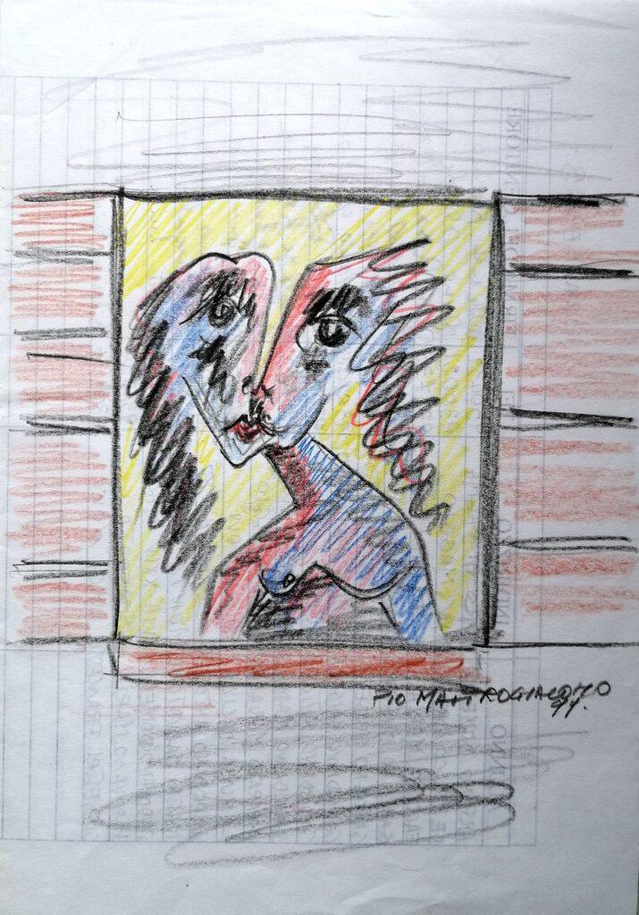 Solitudine, 1999 disegno con matite colorate su foglio A4, Pio Mastrogiacomo.