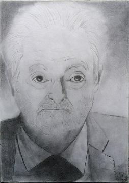 Ritratto di Jacques Attali versione 2, 2020 disegno a matita su foglio A4 della stampante, Pasquale Mastrogiacomo.