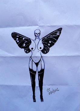 Schizzo di getto di una donna farfalla prete, 2021, penne e pennarello nero su un foglio di fortuna.Quando l'erotismo diventa macabra creatività,Pasquale Mastrogiacomo