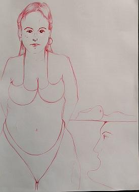 Schizzo di getto di una donna formosa, 2021 disegno a penna su foglio A4, Pasquale Mastrogiacomo.